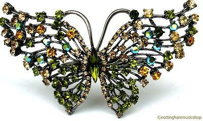4 Napkin Rings New Beautiful Jewel Encrusted Butterfly Design Gem Stones Dining