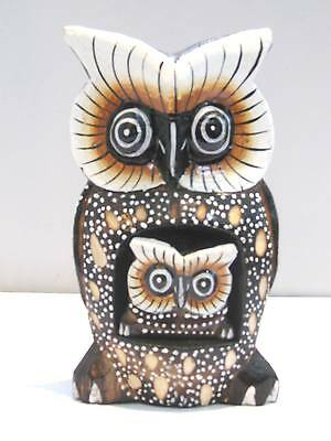 """Wooden Owl Mom Baby Hand Carved Wood Bali Home Decor Sculpture 6"""" #777"""