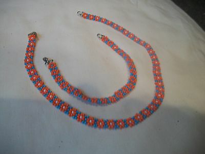 CHILDS Necklace & Bracelet Set BEADED New Handmade COLORFUL Floral Great Gift