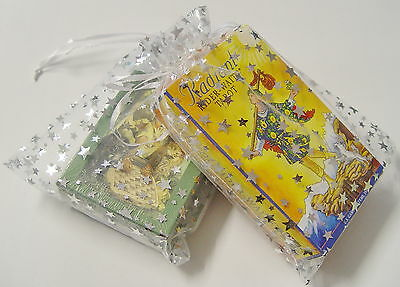 5 x  LARGE ORGANZA TAROT BAGS with SILVER STARS 180 x 130 mm Wicca Pagan Witch