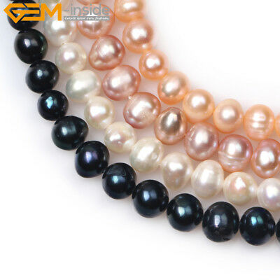 """7-8mm Round Freshwater Pearls Beads Jewelry Making Gemstone Strand 15"""" 4 Colors"""