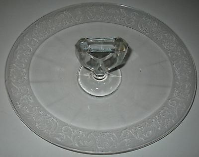 CLEAR DEPRESSION SANDWICH TRAY CAKE PLATE OVAL SHAPE SQUARE CENTER HANDLE GLOWS