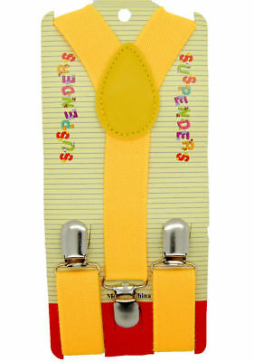 NEW Boys Girls Baby Kids Child Children Clip on Y Back Elastic Yellow Suspenders