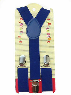 NEW Boys Girls Baby  Kids Child Children Clip on Y Back Elastic Blue Suspenders