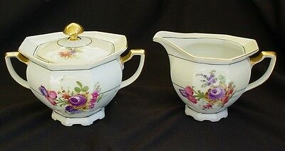 Creamer & Covered Sugar Bowl Victoria China (Czechoslavakia) MAYTIME Excellent