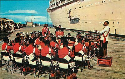 Vintage Chrome PC; Fijian Band of the Fiji Military Forces Greets Cruise Ship