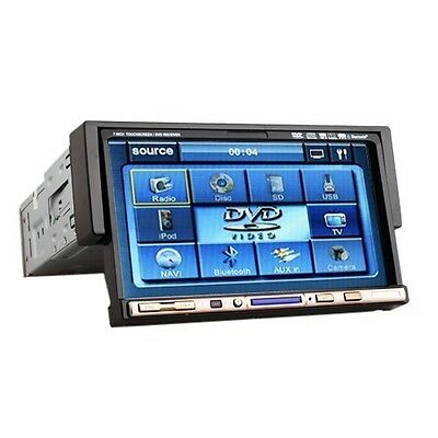 """7"""" In Dash Single 1 Din Car CD DVD Player Touch Stereo FM Radio Detach Audio HE2"""