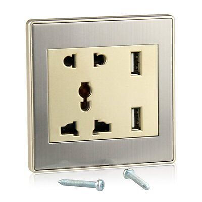 Global Dual USB Wall Charging Station Plate Socket Adapter Power Supply Outlet