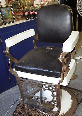 """ANTIQUE OPTHALMIC BARBER CHAIR """"WORLD'S GREATEST"""" PORCELAIN"""