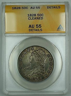 1828 Capped Bust Half Dollar 50c Coin Large Letters ANACS AU-55 Details Cleaned