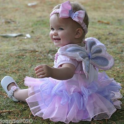 Girls Baby Toddler Fairy Angel Wings Princess Tutu Butterfly Fancy Dress Costume