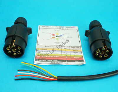 3 Metres 7 Core Cable with TWO 7 Pin 12N Plugs - Kit for Connecting Trailers