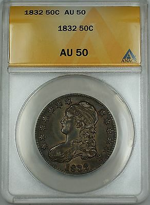 1832 Capped Bust Silver Half Dollar 50c Coin ANACS AU-50 (Better Coin)