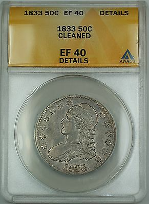1833 Capped Bust Silver Half Dollar 50c Coin ANACS EF-40 Details Cleaned