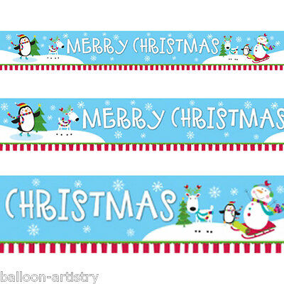4.5m Merry Christmas Cheer Happy Snowman Party Foil Banner Decoration
