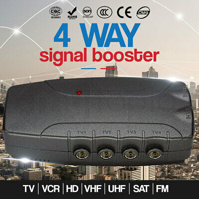 4-Way Mytopia Signal Booster Digital TV VCR Antenna Amplifier Satellite Splitter