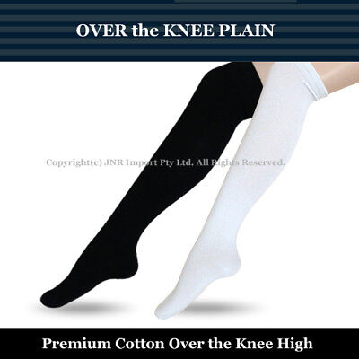 Premium Cotton Over the Knee High Socks - Girls Ladies Cheerleader Size 2-8
