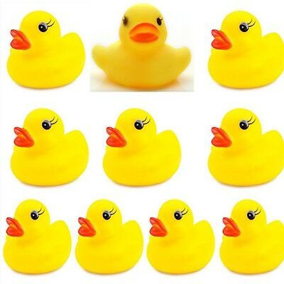20Pcs Lots Yellow Baby Kids Children Bath Toy Rubber Race Squeaky Duck Ducky