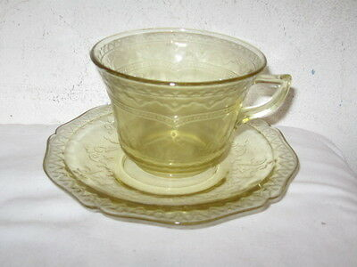 Antique Federal Glass Amber Patrician Spoke Cup and Saucer Set VFC