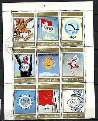 Fujeira 1972 Olympic Games Cto Used Block Of 9 #A51406