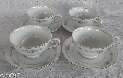 4 Style House Fine China of Japan Pierette Footed Tea Coffee Cup & Saucer Sets