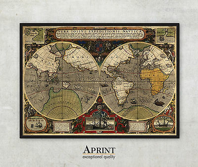 """Giant Antique Historic World map, 1595, Old Antique style art print, 55"""" x 77"""""""