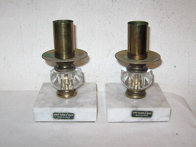 Vintage Pair of Marble, Glass and Brass Candle Holders Made in Italy