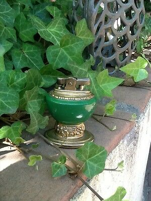 Beautiful Green and Brass Flowered Trim Ronson Table Lighter