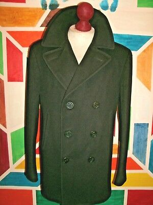 Vintage NAVAL CLOTHING DEPOT  8 Buttons Wool Pea Coat Corduroy Pockets . Size 40