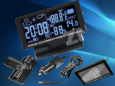 New LCD Screen Digital Clock Car Vol C/F Thermometer Hygrometer Weather Forecast