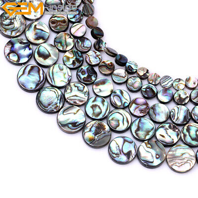 """Natural Genuine Abalone Shell Beads For Jewelry Making 15"""" Coin Jewelry Design"""