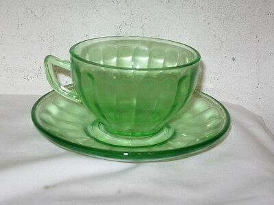 Antique Federal Green Depression Optic Panel Cup and Saucer Set VFC