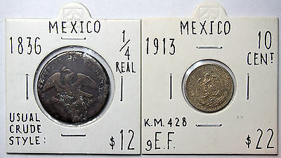 Mexico - pair of Coins in 2 x 2 holders described and graded - Retail $34