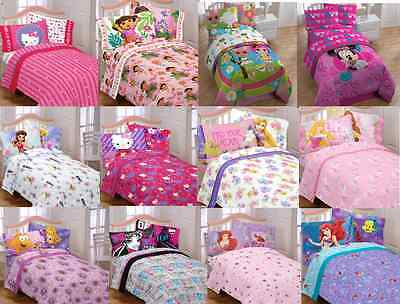 Kids Girls Bedding Sheet Sets With Multiple Disney Characters / Tv Characters