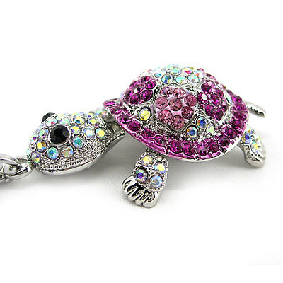 Super Lovely Pink Tortoise Turtle Animal Czech Crystal Necklace