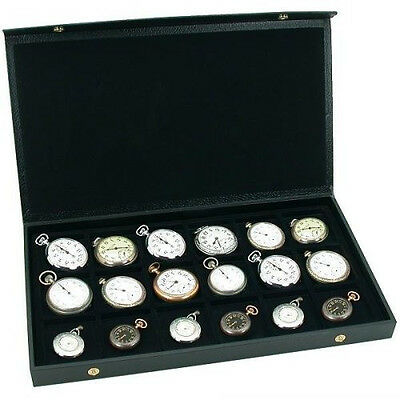 NEW 18 Pocket Watch Display Case Storage Box For 18 Watches