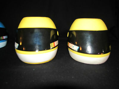 Nascar Helmet Mugs Set Of Four 2 Blue 2 Yellow Used In Very Nice Condition