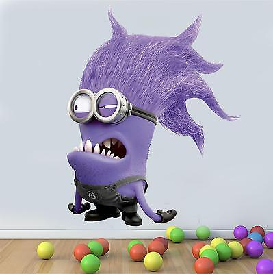 Wall art Graphic DESPICABLE ME EVIL PURPLE MINION BAD GUY Printed Vinyl Sticker