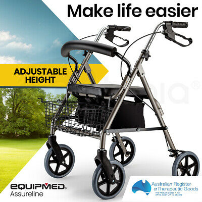 NEW EQUIPMED Foldable Rollator Walking Frame Outdoor Indoor Mobility Walker Aids