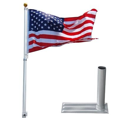 25 ft Telescopic Aluminum Flagpole Tire Mount Stand Kit 3'x5' Flag Ball Pole Top