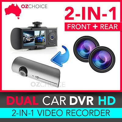 In Car Dual Camera DVR HD GPS Lens Vehicle Dash Cam Recorder Night IR + 8GB SD