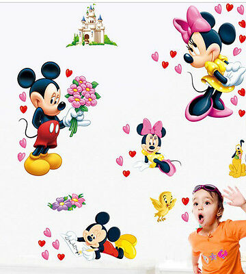 Disney Mickey Minnie Mouse Wall Stickers Decal Removable Kids Art Nursery Decor