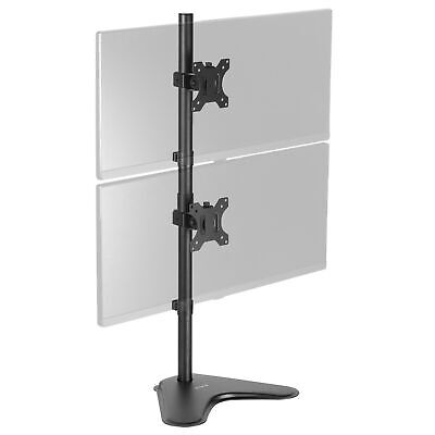 Dual LCD Monitor Desk Stand/Mount Free Standing Vertical 2 Screens up to 27""