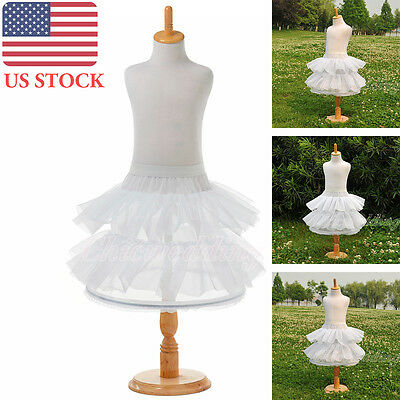Tulle Children Petticoat Bridal Layered Dress Crinoline Underskirt Slips White