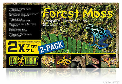 EXO TERRA FOREST MOSS 2x7L TROPICAL TERRARIUM INCUBATOR SUBSTRATE PLUME PT3095