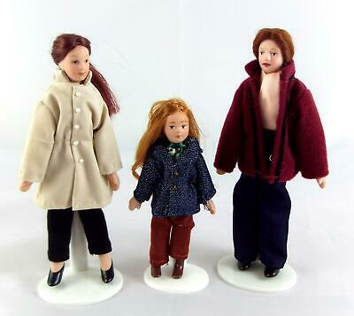 Dolls House Miniature Modern Family of 3 People Poseable Porcelain 1:12 Scale