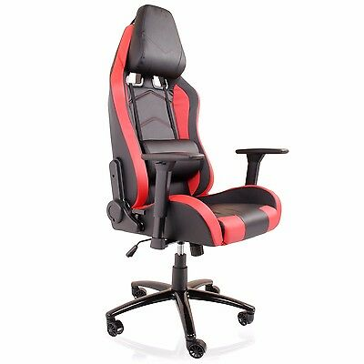 Luxury Red Bucket Seat Racer Gaming Reclining 180 Recliner Swivel Office Chair