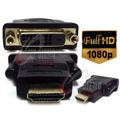 2 X Gold Plated HDMI Male to DVI-D (24+1) Female Joiner Connector Adapter UK