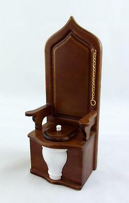 Dolls House Miniature 1:12 Scale Wooden Furniture Bathroom Walnut Toilet Throne