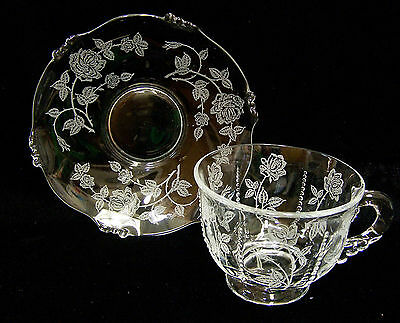 Heisey Rose Glass Crystal Cup & Saucer PlateTextured Etched Clear